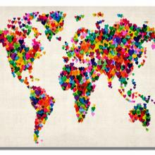 Hearts world map - fine art print glicée on paper 70 x 100 cm - Michael Tompsett